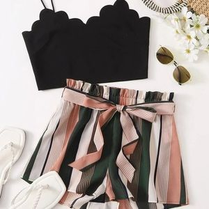 Scalloped crop top and belted short set S M L